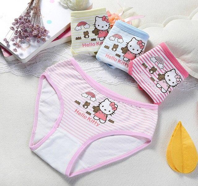 Petites Filles Kitty Mémoires Culottes Doux Coton Bande de Sous-Vêtements 4  pcs lot 73094f40a40