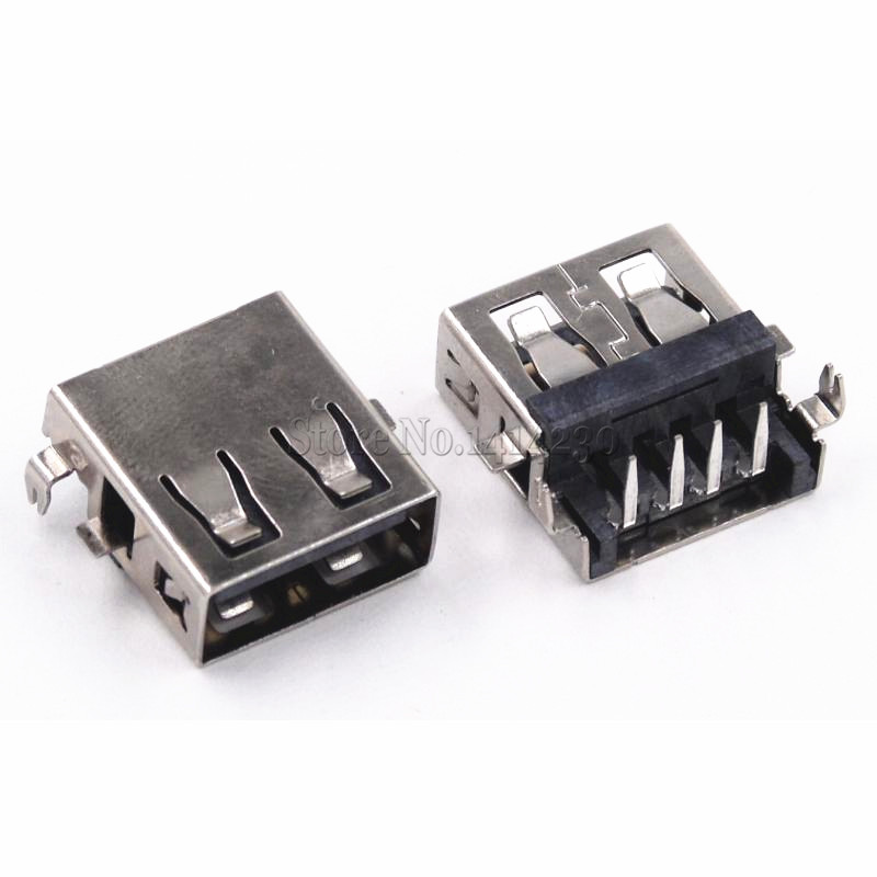 10Pcs USB Type A Female Socket Short Body 90 Degrees AF10.0-4PINS 6.3 Height Rimless Black DIP 4PINS