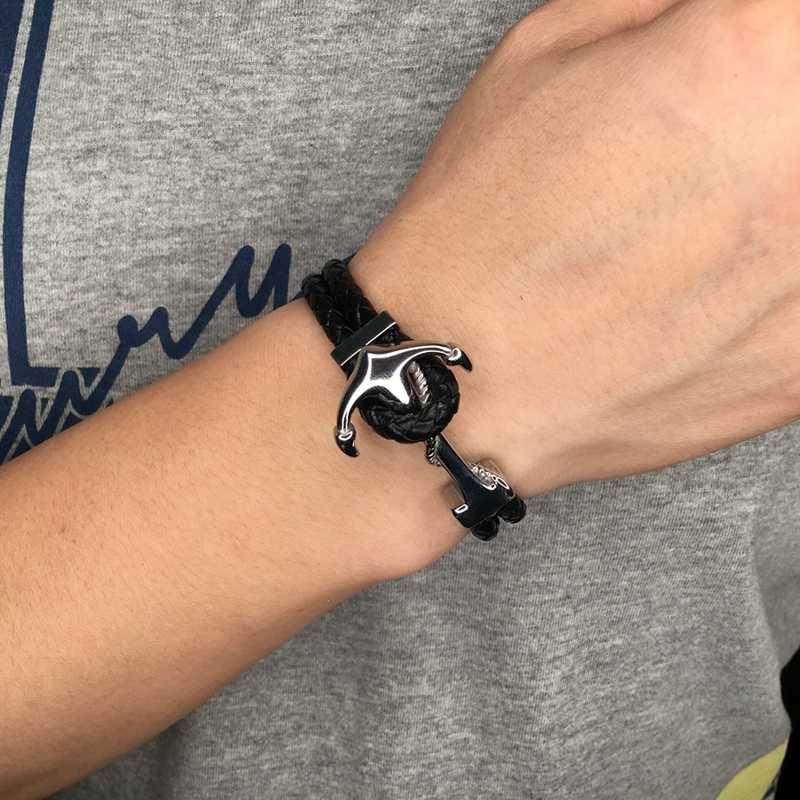 פאנק זכר תכשיטי נירוסטה עוגן צמיד גברים שחור קלוע עור חבל צמידי אופנה קסם לעטוף צמידי PW767