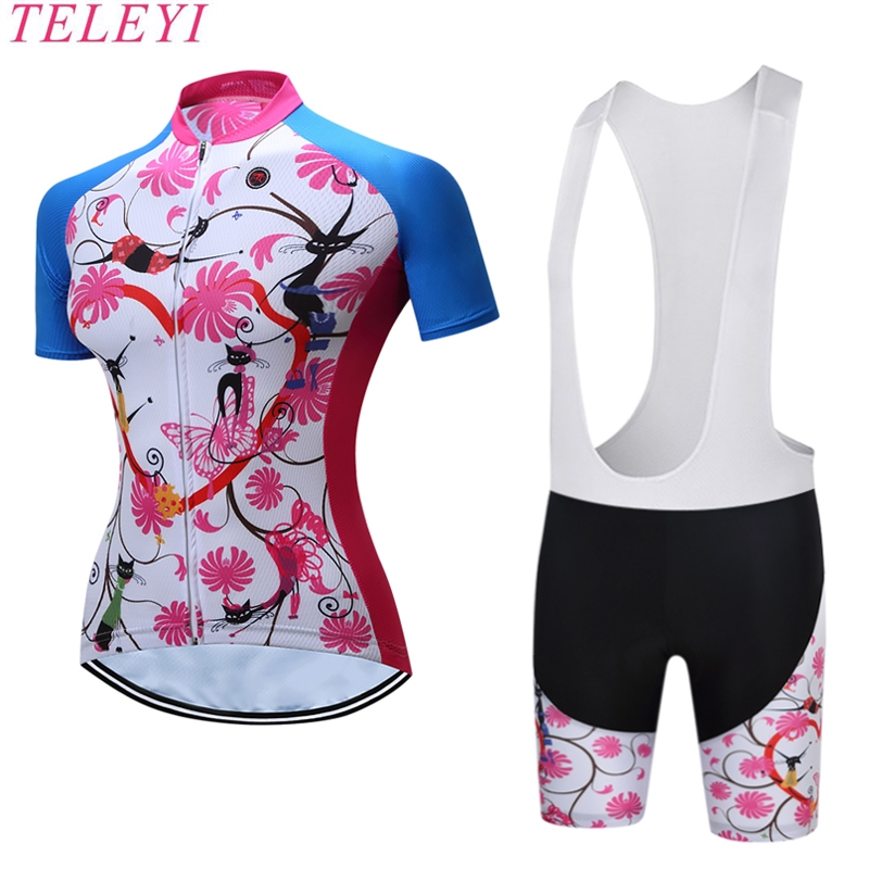 TELEYI 100 Polyester Short Sleeves Breathable BIB Short Quick Dry MTB Bike Jerseys Pro Team Ropa