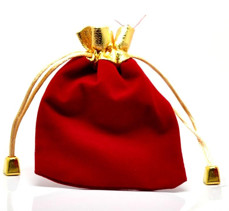 Velveteen Velvet Bags Rectangle Red 12cm X9cm(4 6/8