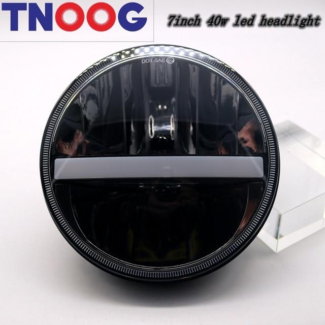 "TNOOG 2pcs 40w 7"" Led  Headlight With Hi/Low Beam lamp Led  lamp white DRL&Amber turn signal For Jeep Wrangler"
