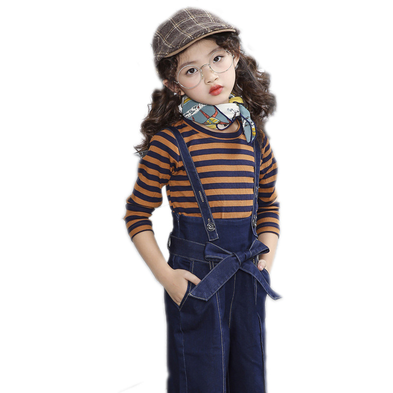 children clothing toddler girls tracksuit top long sleeve striped tshirt+wide leg jeans pants 2 piece suit sets 4-13T girls sets new jeans female large size loose nine pants pants stripes wide leg pants was thin jeans