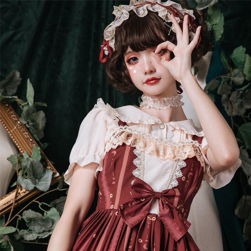 Princesse douce lolita blouse printemps et été princesse douce couleur pure chemise manches bulle col claudine chemise ZJY151