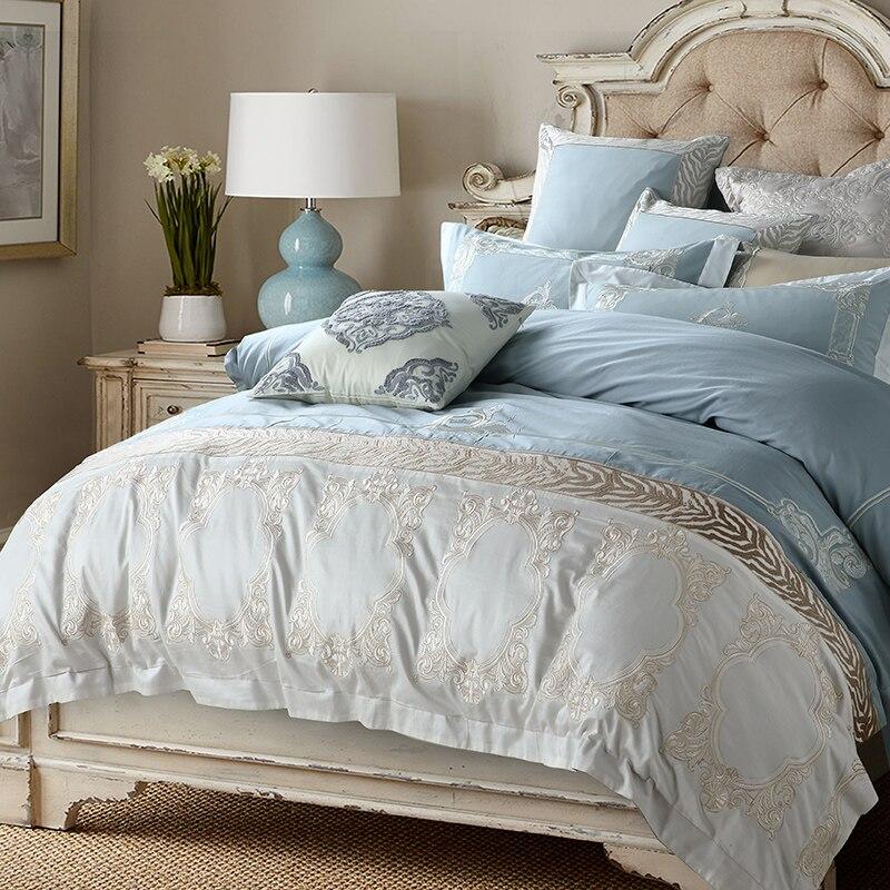 Oriental Stickerei Blau Ägyptischer Baumwolle Luxus Bettwäsche Set Königin König größe Bett Bettbezug set Bettlaken set Kissenbezug-in Bettwäsche-Sets aus Heim und Garten bei  Gruppe 1