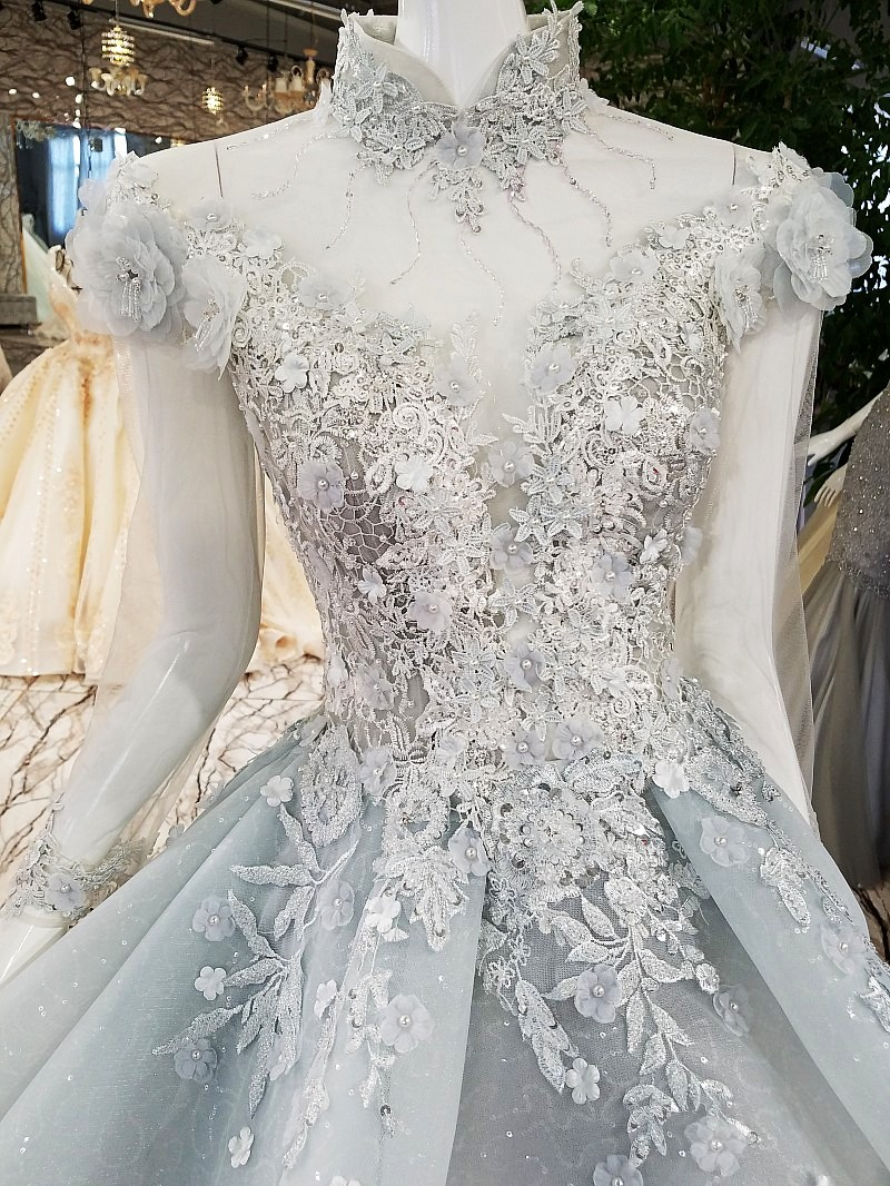 Moslim Elegant Lichtgrijs Lange Prom Dresses 2018 Hoge Kraag Volledige Mouwen 3D Bloem Prom Jassen Crystal Applicaties Abendkleider - 3