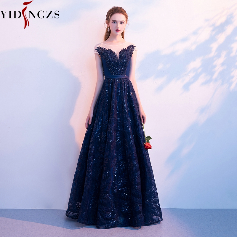 YIDINGZS Navy Blue Evening Dress Elegant V neck Cap Sleeve Sequins Beading Party Long Evening Dresses