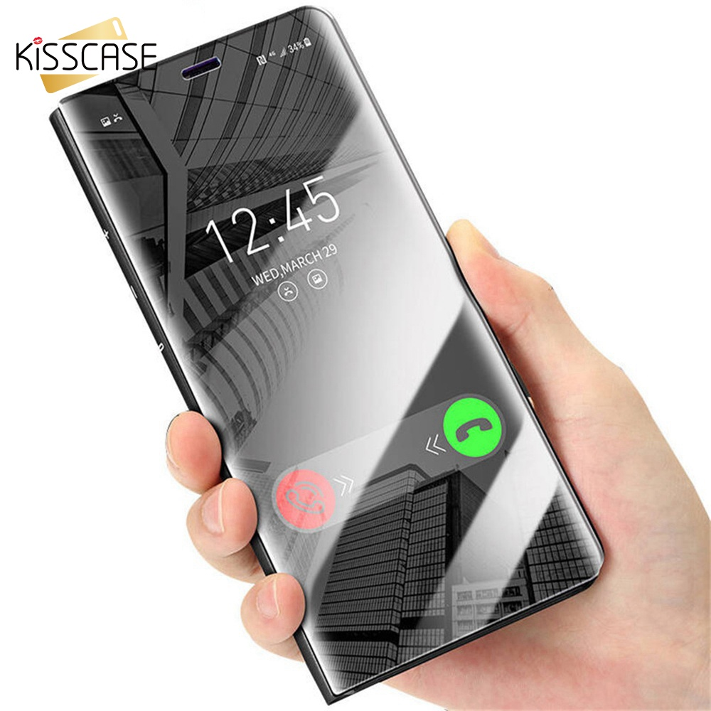 KISSCASS Mirror Smart Case For Samsung Galaxy S8 S9 Plus S7 S6 Edge Note 8 5 Cases Flip Phone Cover For iPhone 6 6S 7 8 Plus X