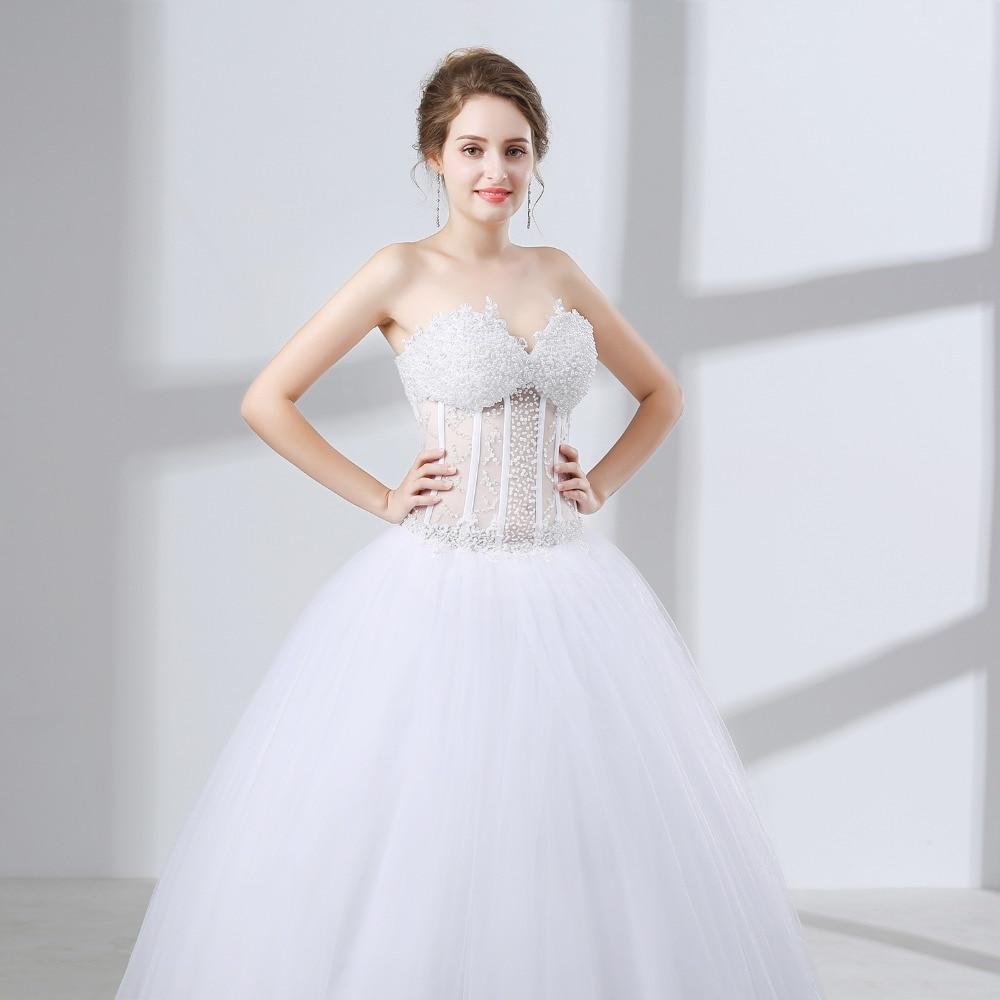 White Vintage Ball Gown Wedding Dresses 2018 Vestido De