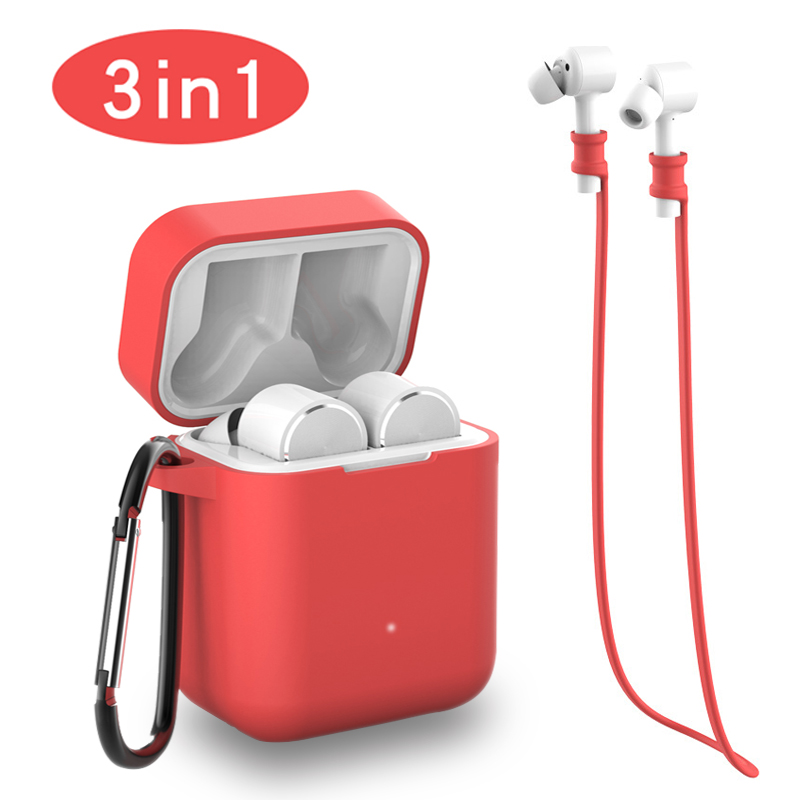 3 IN 1 Air Case Anti lost Strap Carabiner For Xiaomi Airdots Pro AIR TWS Wireless Bluetooth Earphone Bags for Xiaomi Airdots Pro in Earphone Accessories from Consumer Electronics