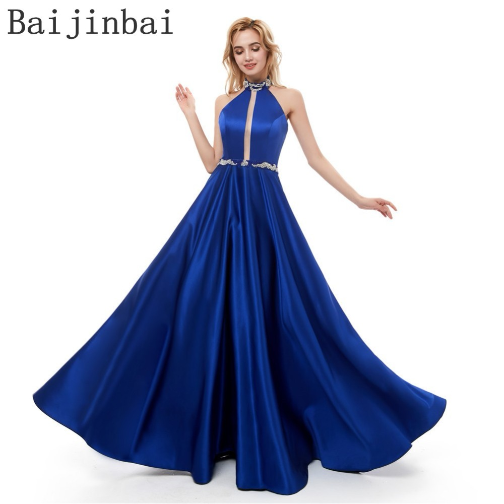 New Women Long Evening Dress 2019 Satin A Line Evening Gowns Party Prom Dresses