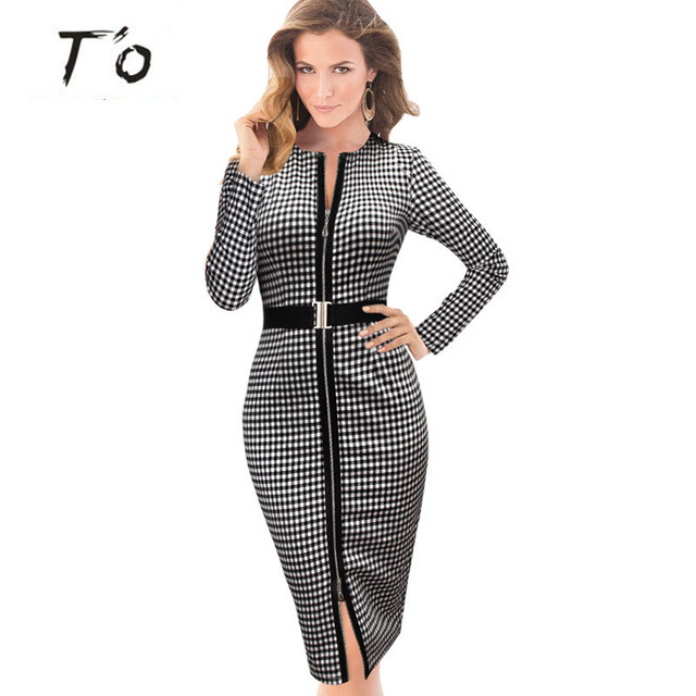46d29504214 Hot Sale High Grade Lady Elegant Slit Tunic Belted Front Zipper Casual Party  Work OFFICE Business Pencil Bodycon Sheath Dress 39