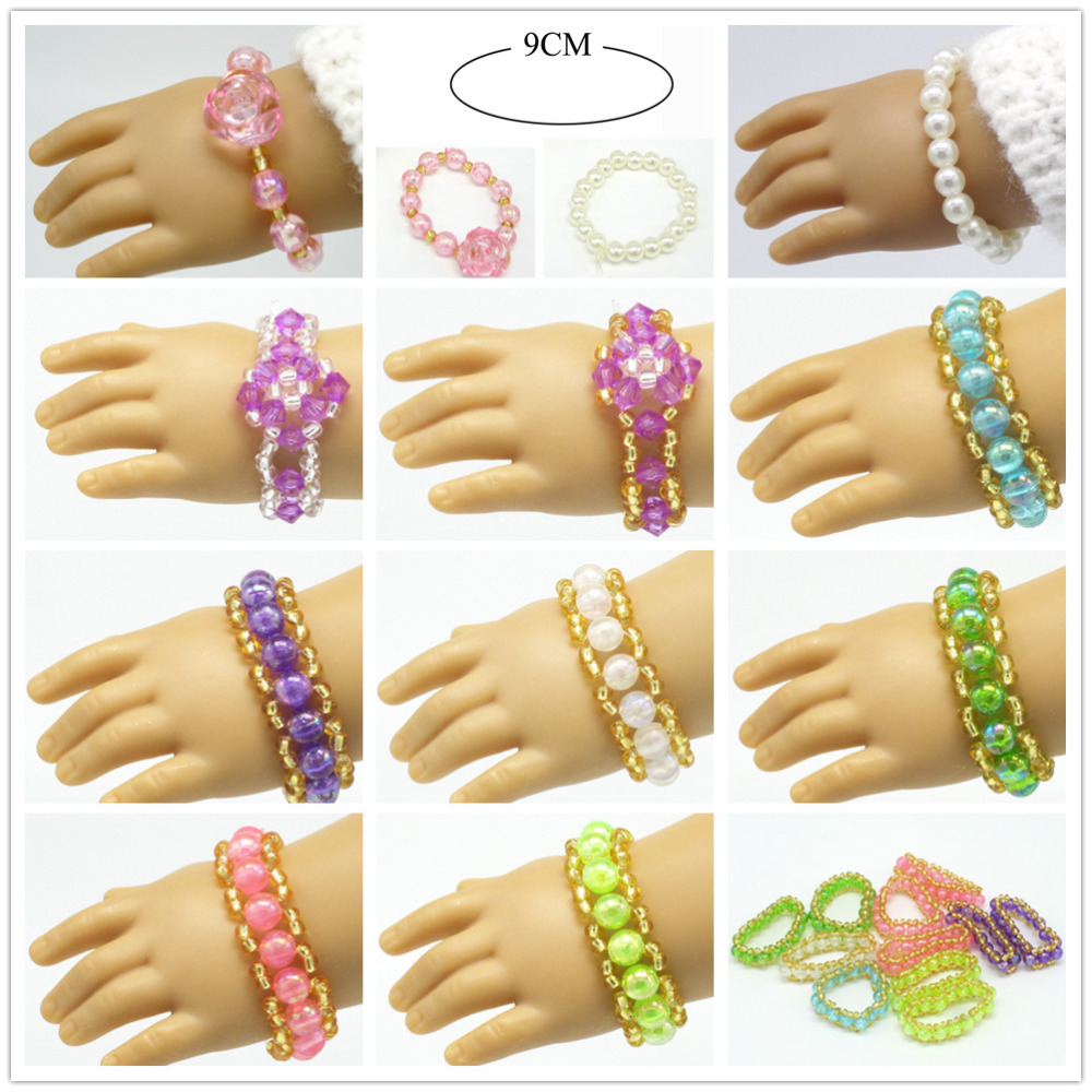 1pair American Girl Doll Pearl Bracelets Fits Our Generation Doll 18 American Girl Doll Clothes And Accessories 9 colors american girl doll dress 18 inch doll clothes and accessories dresses