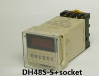 DH48S S AC 220V Repeat Cycle DPDT Time Delay Relay Timer Counter With Socket Base 220VAC