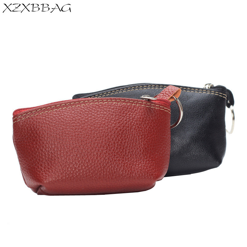 XZXBBAG Genuine Cowhide Leather Coin Purse Women Casual Zipper Small Wallet Female Keyring Change Purse Mini Zero Wallet XB462