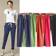 Womens Autumn/Summer Harem Pants Cotton Linen Solid Elastic waist Candy Colors Harem Trousers Soft high quality for Female ladys(China)