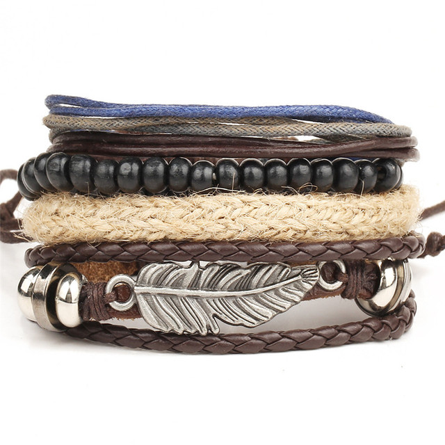 Fashion 1 Set 4PCS Men's bracelet multi-layer leather bracelet women's retro bead bracelet men punk jewelry accessories Pulseira