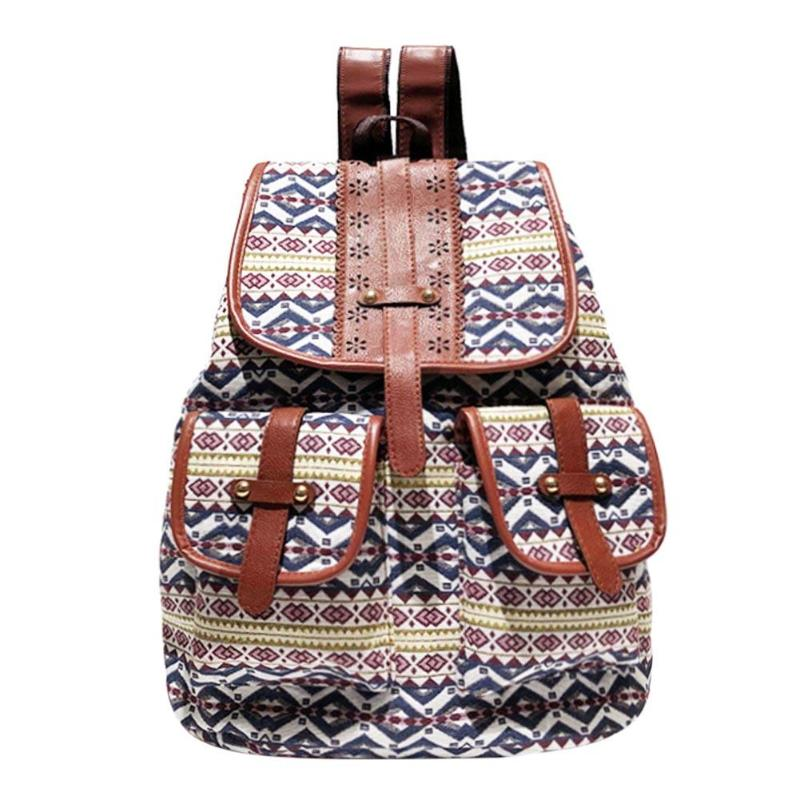 Casual Backpack For Women Drawstring Design Canavs Backpack Girls Small Bohemian Vintage Printing Ladies Rucksack Sac A Dos Z70