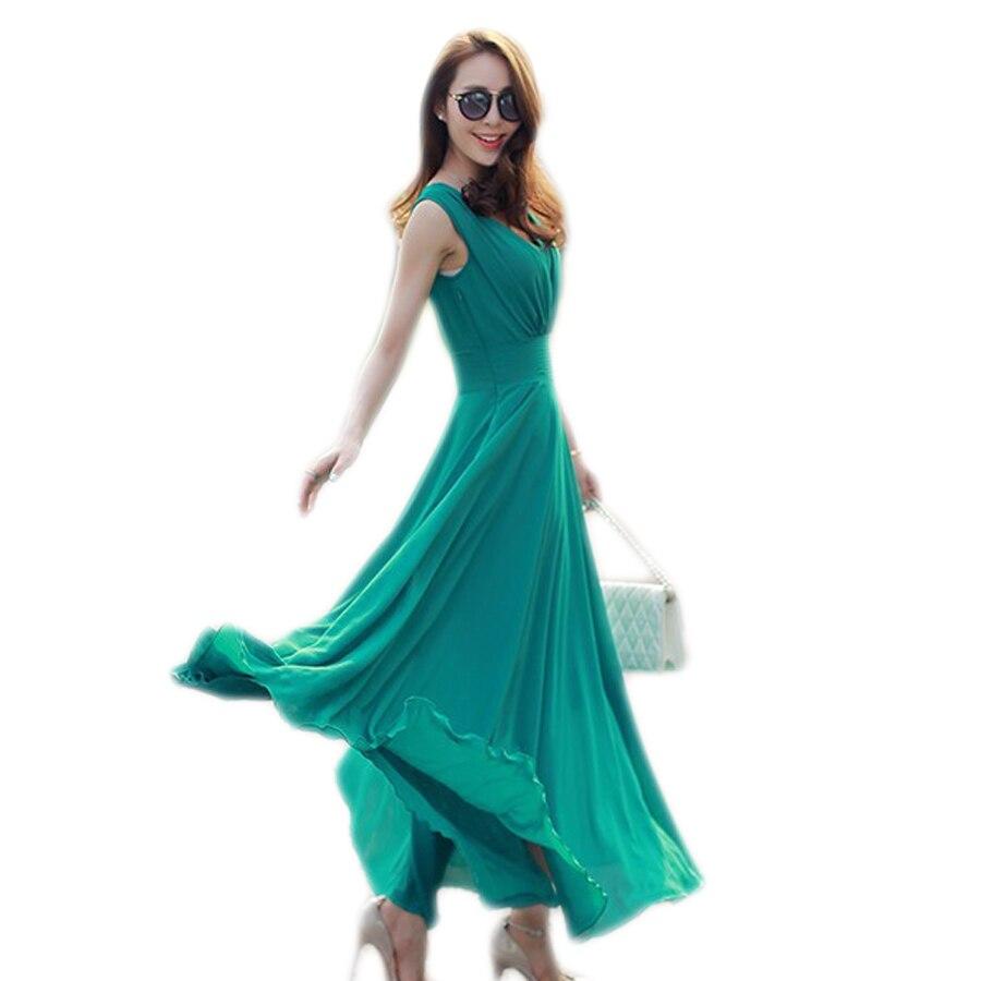 웃 유Vestido largo sólido mujeres vestido casual verano estilo ...