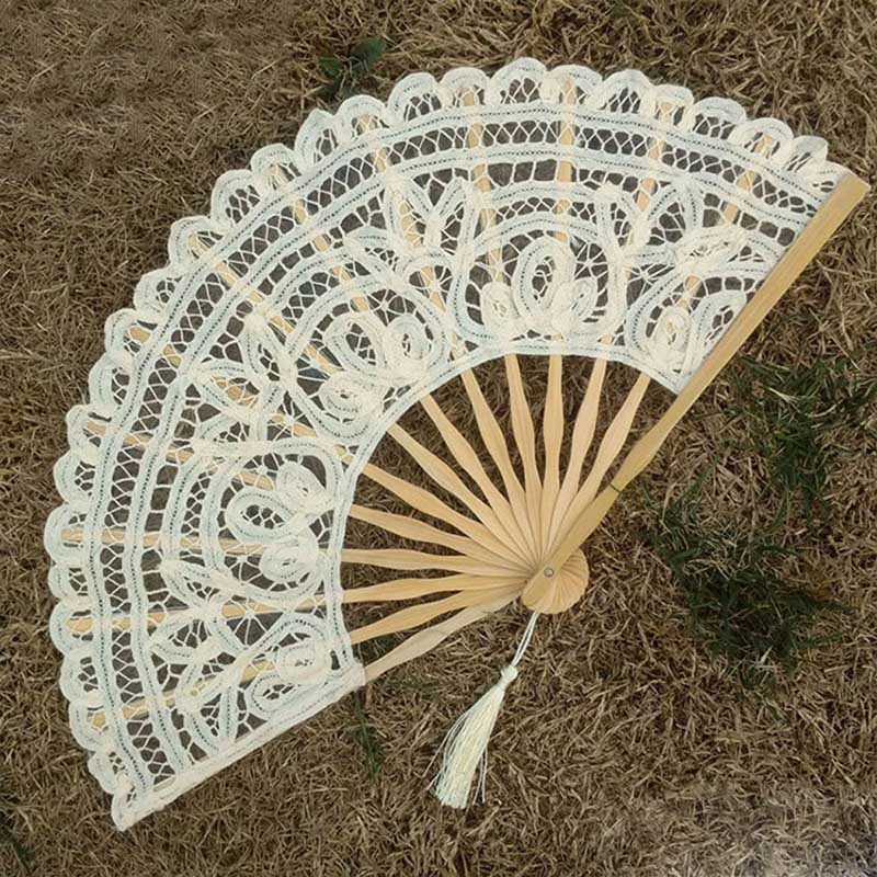 Party Wedding Prom Bamboo Fans Chinese Style Folding Dance Fans 1PC Lace Fabric Silk Embroidery Hand Held Women Girl Photo Prop