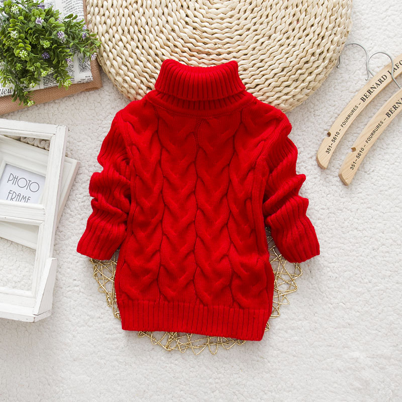 PHILOLOGY 2T-8T bear winter boy girl kid thick Knitted bottoming turtleneck shirts baby high collar pullover sweater | Happy Baby Mama