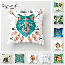 Fuwatacchi Bohemia Elephant Polyester Cushion Cover Indian Style Square Pillow For Home Sofa Chair Decorative Case