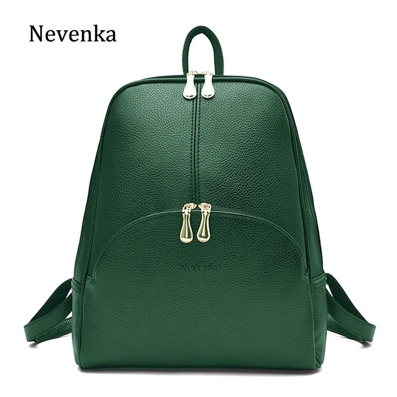 Nevenka Leather Backpack Women Solid Backpacks Light Weight Bag Cute Top Handle Backpacks for Girls Mini Backpack Female Bagpack leather