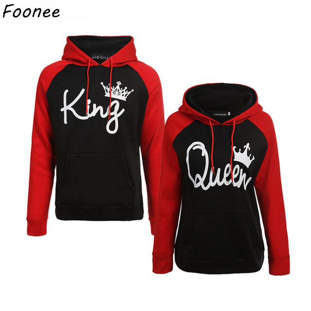 c94e4979ef Couples Lover Matching Look Sweatshirt 2018 Autumn Winter Unisex Women Men  Casual Hooded Hoodies KING and Queen Letter Pullovers