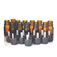 12pcs 1 6 Oz 5ml Amber Glass Bottles W Euro Dropper Black Tamper Evident Cap For