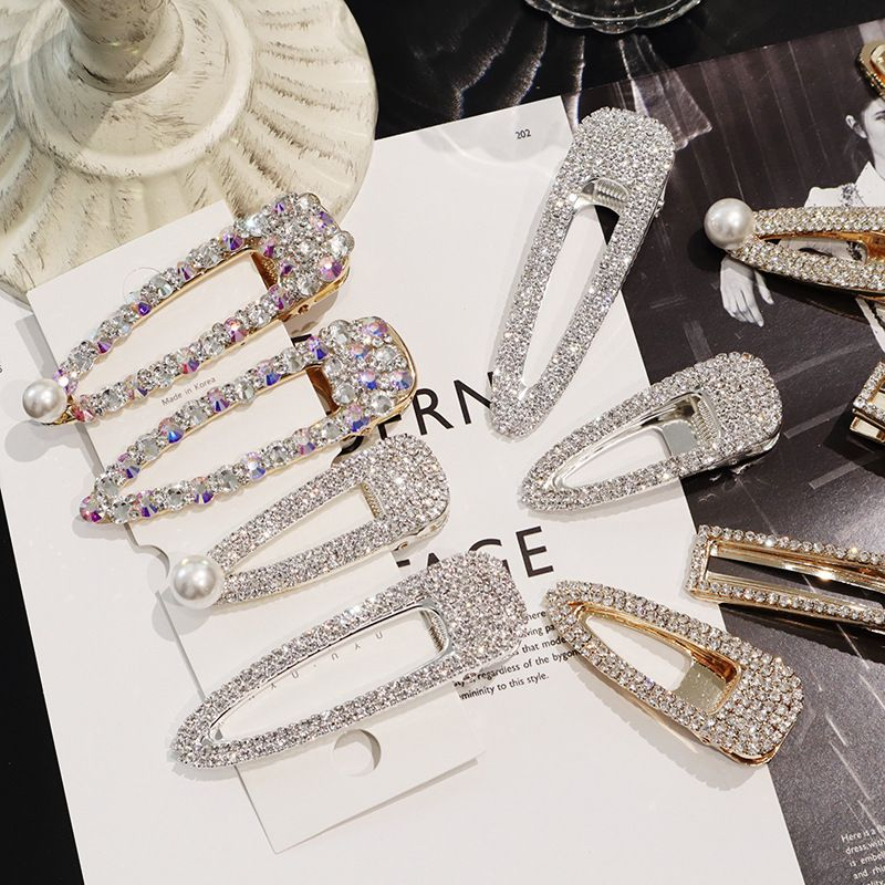 2019 Girls Crystal Hair Clip Snap Barrette Hairpin Bobby Hair Crystal Rhinestone Words Hairpin Hair Barrette Hair Clips Dropship
