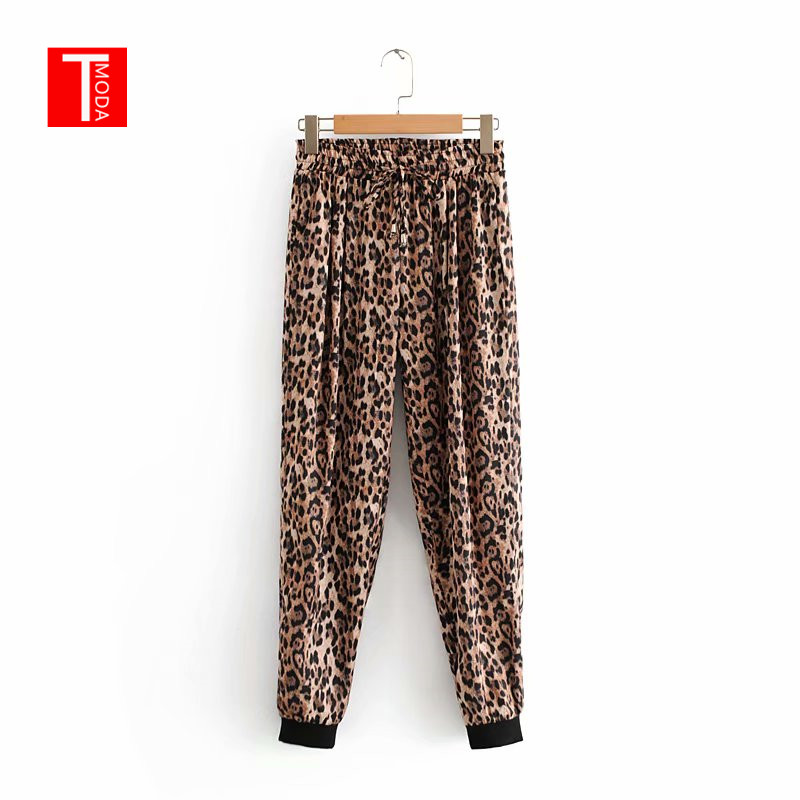2018 Spring Summer Women Casual Leopard Stitching Closed Comfy Sweatpants Leisure Trousers   Pants     Capris   Trousers Women