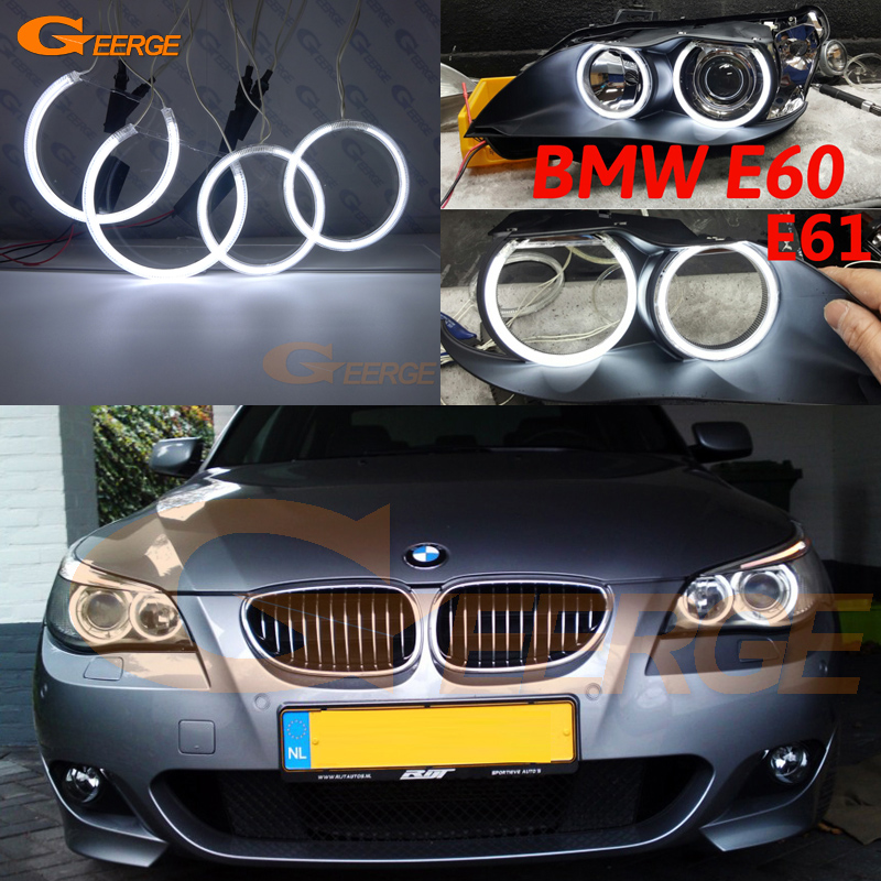 For BMW E60 E61 525I 530I 540I 545I 550I M5 2003-2007 Xenon Headlight Excellent Ultra bright illumination CCFL angel eyes kit for bmw e60 e61 lci 525i 528i 530i 535i 545i 550i m5 xenon headlight excellent drl ultra bright smd led angel eyes kit