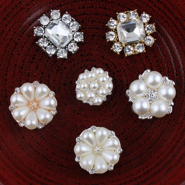 Botones de Metal con estrás, pentagrama Vintage/redondo/Flor, ostentosos botones de cristal para accesorios para el cabello, 120 Uds.