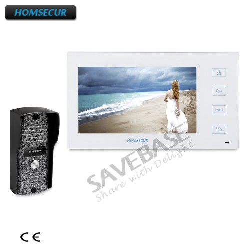 """HOMSECUR 7"""" Hands-free Video&Audio Home Intercom+White Monitor for Apartment"""