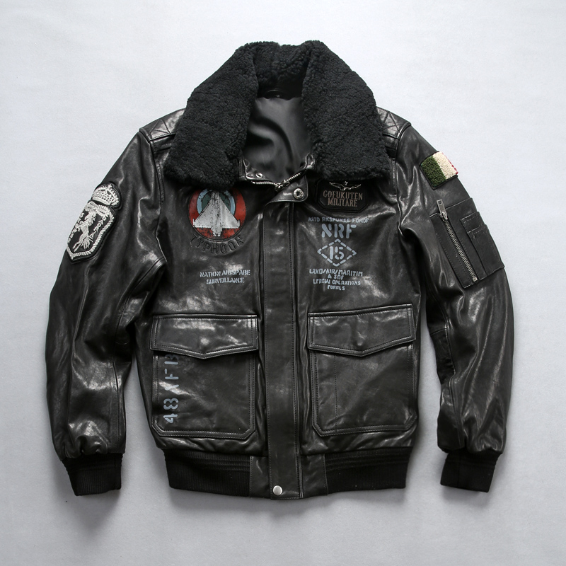 Jacket Flight Pilot Air-Force New Lamb Black A1 Sheepskin Embroidery Fur-Collar Rel Seahorse