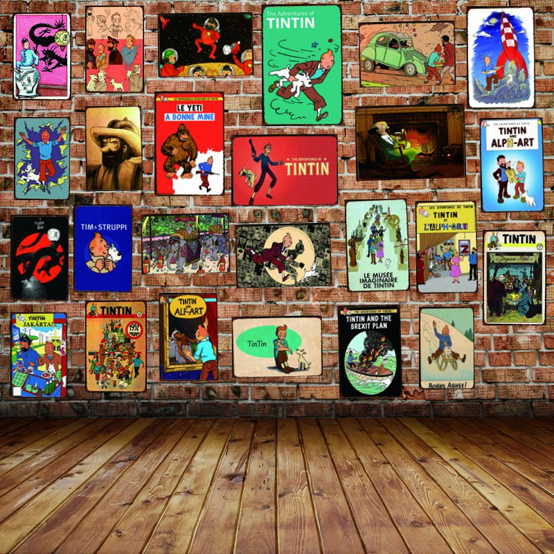 Tintin Cartoon Mteal Sign Plaque Metal Vintage Cafe Home Art Kids Room Wall  Decor Unique Gift Cuadros DU-2524B