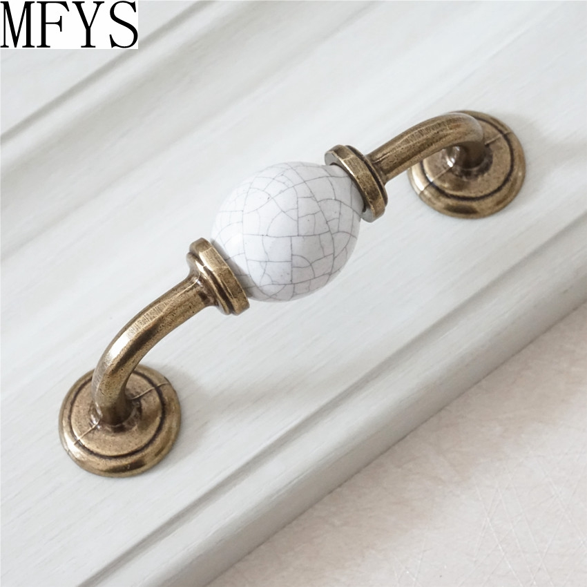"Ceramic Kitchen Cabinet Handles Drawer Pull Knobs Antique: 3.5"" Dresser Drawer Pulls Handles Metal Ceramic White"