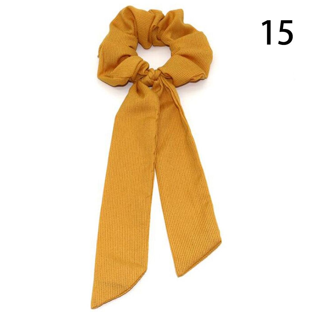 Богемные резинки для волос в горошек с цветочным принтом и бантом, женские эластичные резинки для волос, повязка-шарф, резинки для волос, аксессуары для волос для девочек - Цвет: 15