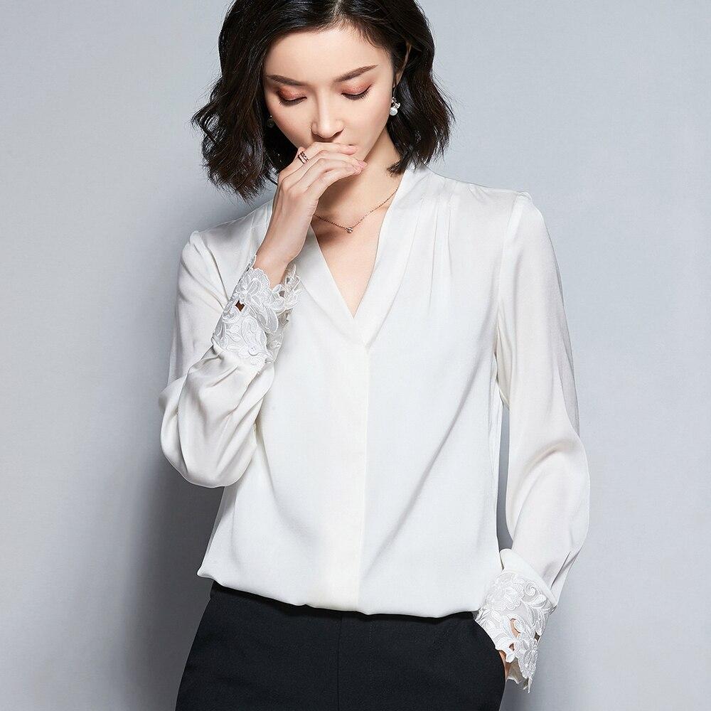 D6679 chemise en mousseline de soie blanche à col en v - 5