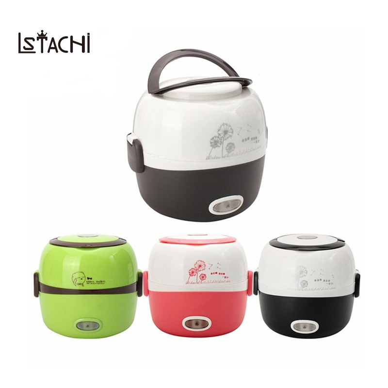 LSTACHi Portable Electric Rice Cooker 1.3L Insulation Heating Lunchbox 2 Layers Steamer Multifunction Automatic Food Container lunchbox electric portable rice cooker can be plugged in electric heating automatic heat preservation cooker