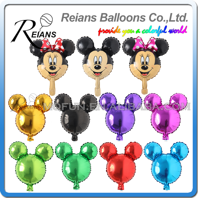 REIANS Cute Mini Mickey Minnie Mouse Foil Balloons Cartoon 25*45CM Head Shape Inflatable Air Ballons Birthday Party Decor Toy