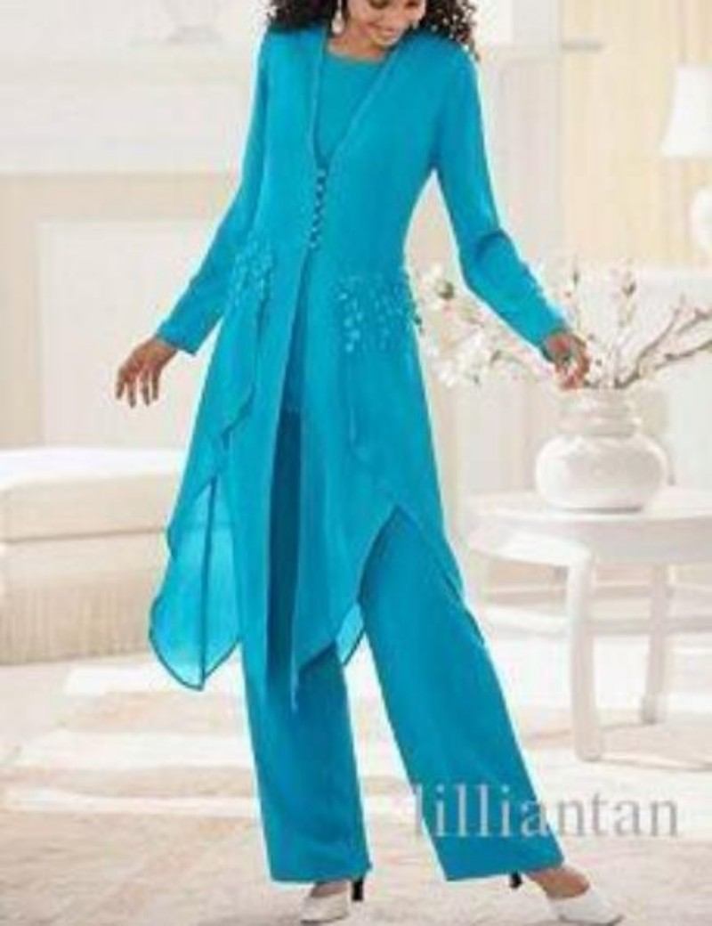Gray Blue Chiffon Mother of the Bride Pants Suits With Long Jacket ...