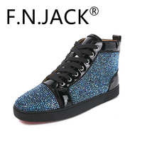 FNJACK Fashion Multi Strass Swarovski Suede Leather Sneaker Hi top Flat Fashion Shoes Trainers red bottom