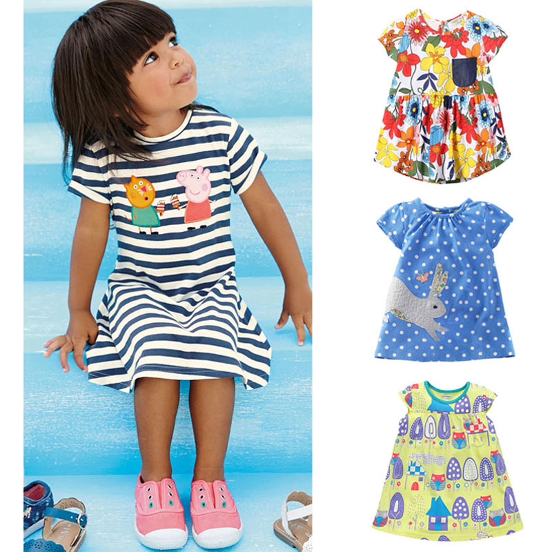 Brand Quality 100 Cotton 2017 New Baby Girls Dresses Summer Children Clothing Kids Clothes Girls Casual