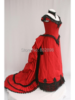 New Red Satin Short Sleeves Victorian Bustle Ball Gown Dress/Party Dress