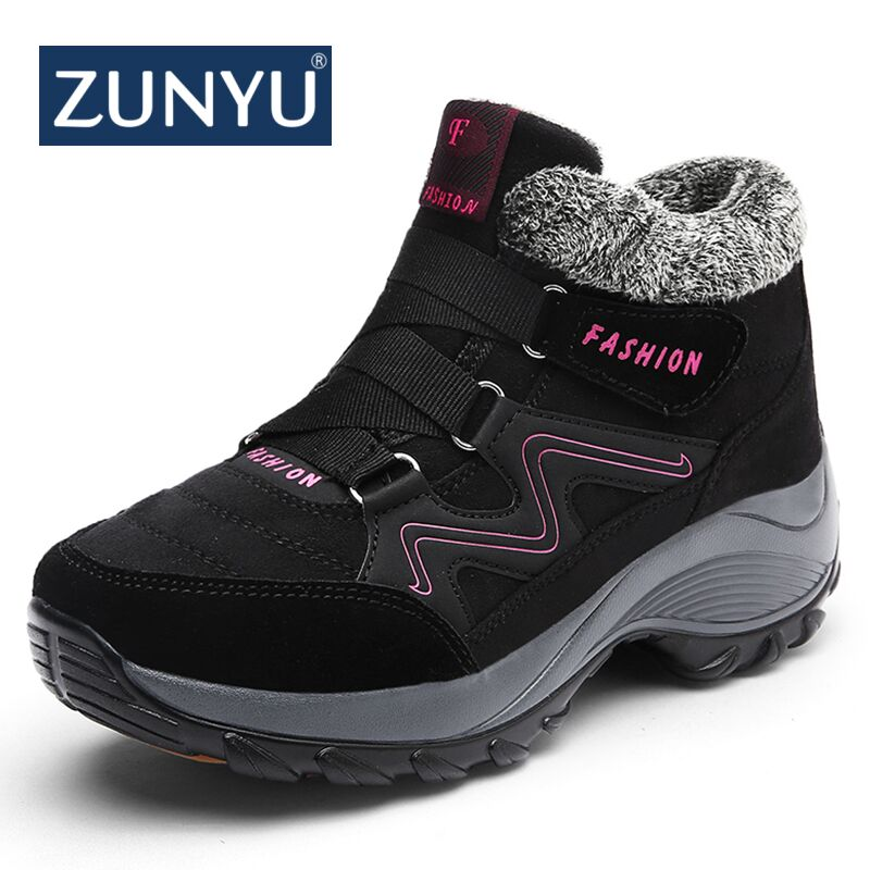 ZUNYU New Classic Women Winter Boots Suede Ankle Snow Boots Female Warm Plush High Quality Wedge Snow Waterproof Non-slip Boots suede ankle snow boots