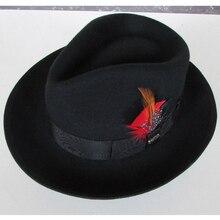 LIHUA Merek 100% wol Bowler derby billycock merasa topi musim dingin mode topi  wol fedora a7bc89004a