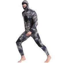 Large size Men Spearfishing Wetsuit 5mm Neoprene One Piece Swimsuit Dive Surf Swim Suit Swimwear Long sleeve Beach Camouflage