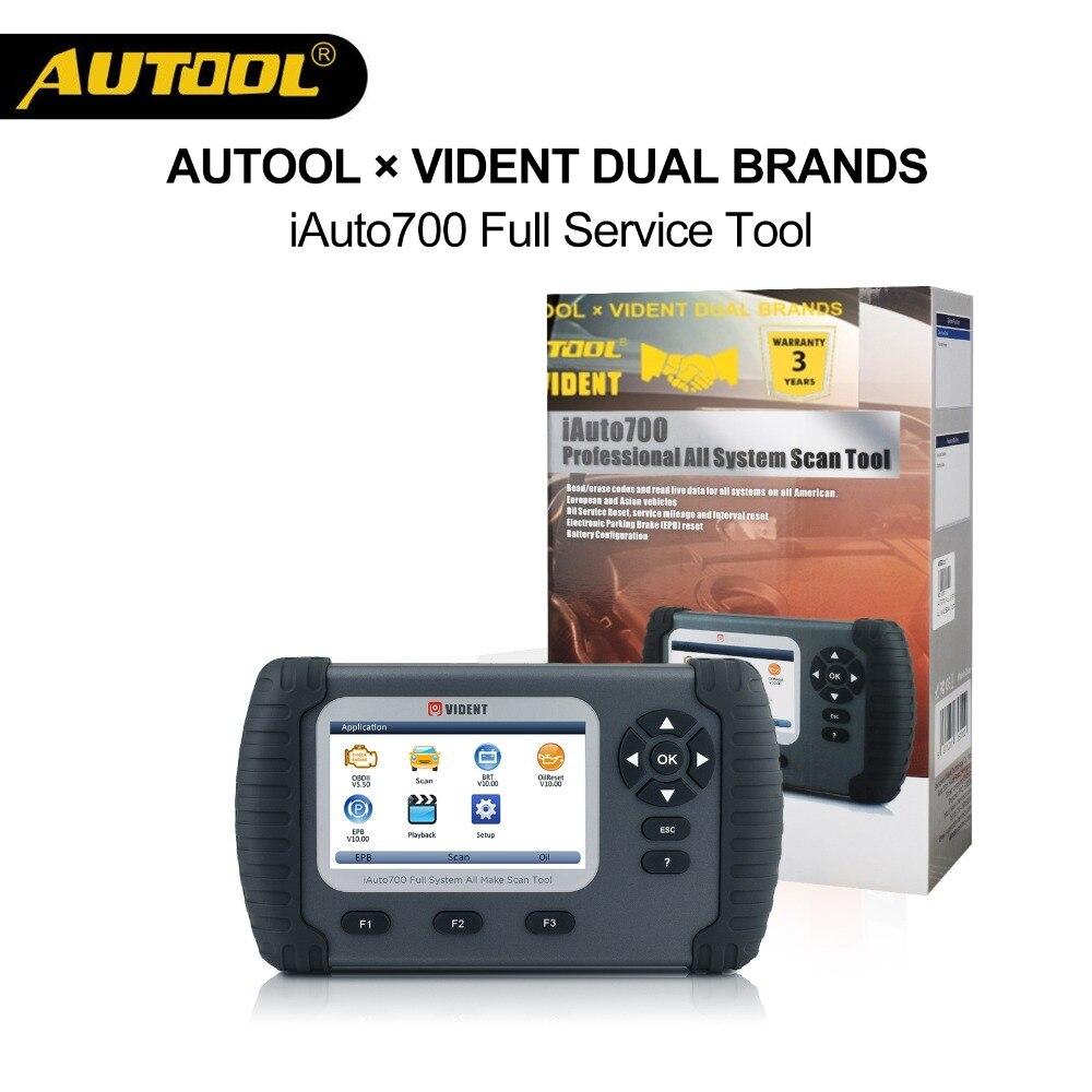 AUOOLxVident iAuto700 Automotive OBD Carro de Diagnóstico Completo do Sistema de Óleo Do Motor EPS ABS Airbag Reset EPB Ferramenta de Configuração Da Bateria