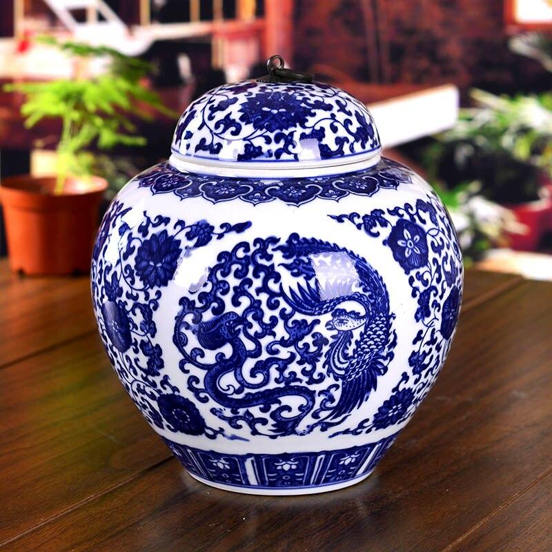 chinese temple jar antique ceramic blue and white ginger jars ceramic decoration vase jar - Ginger Jars
